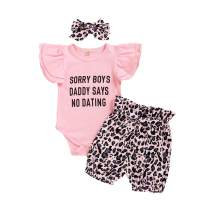 Toddler Girl Summer Letter T-Shirt Short Sleeve Tops Pink Leopard Bow Dress Romper Shorts Kids Girl Clothes Sets
