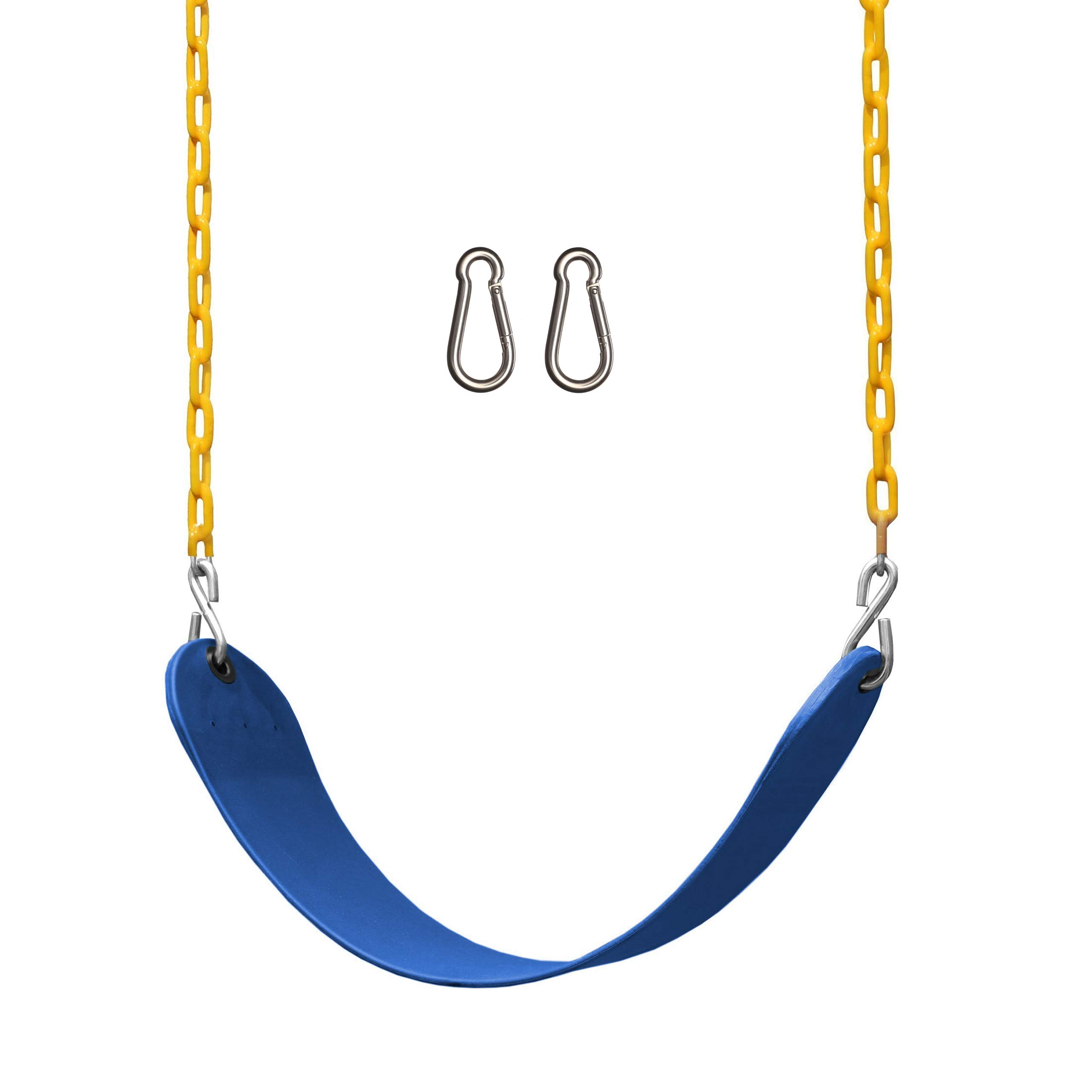 Jungle Gym Kingdom Swings for Swing Set - Heavy Duty Parts, Chain & Seat - Replacement Playground Accessories Kit for Kids Backyard Outdoor Swingset (Blue)