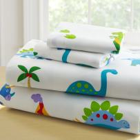 Wildkin Kids 100% Cotton Full Sheet Set for Boys and Girls, Bedding Set Includes Top Sheet, Fitted Sheet, and Two Standard Pillow Cases, Certified OEKO-TEX Standard 100, Olive Kids (Dinosaur Land)