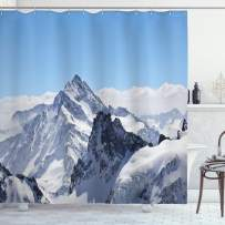 """Ambesonne Winter Shower Curtain, Snowy Rocky Mountain Peaks Tops Scene High Lands ICY Frozen Swiss Outdoor Art, Cloth Fabric Bathroom Decor Set with Hooks, 70"""" Long, White Blue"""