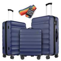 GinzaTravel Anti-scratch ABS Material Luggage 3 Piece Sets Lightweight Spinner Navy blue Suitcase (20in 24in 28in)