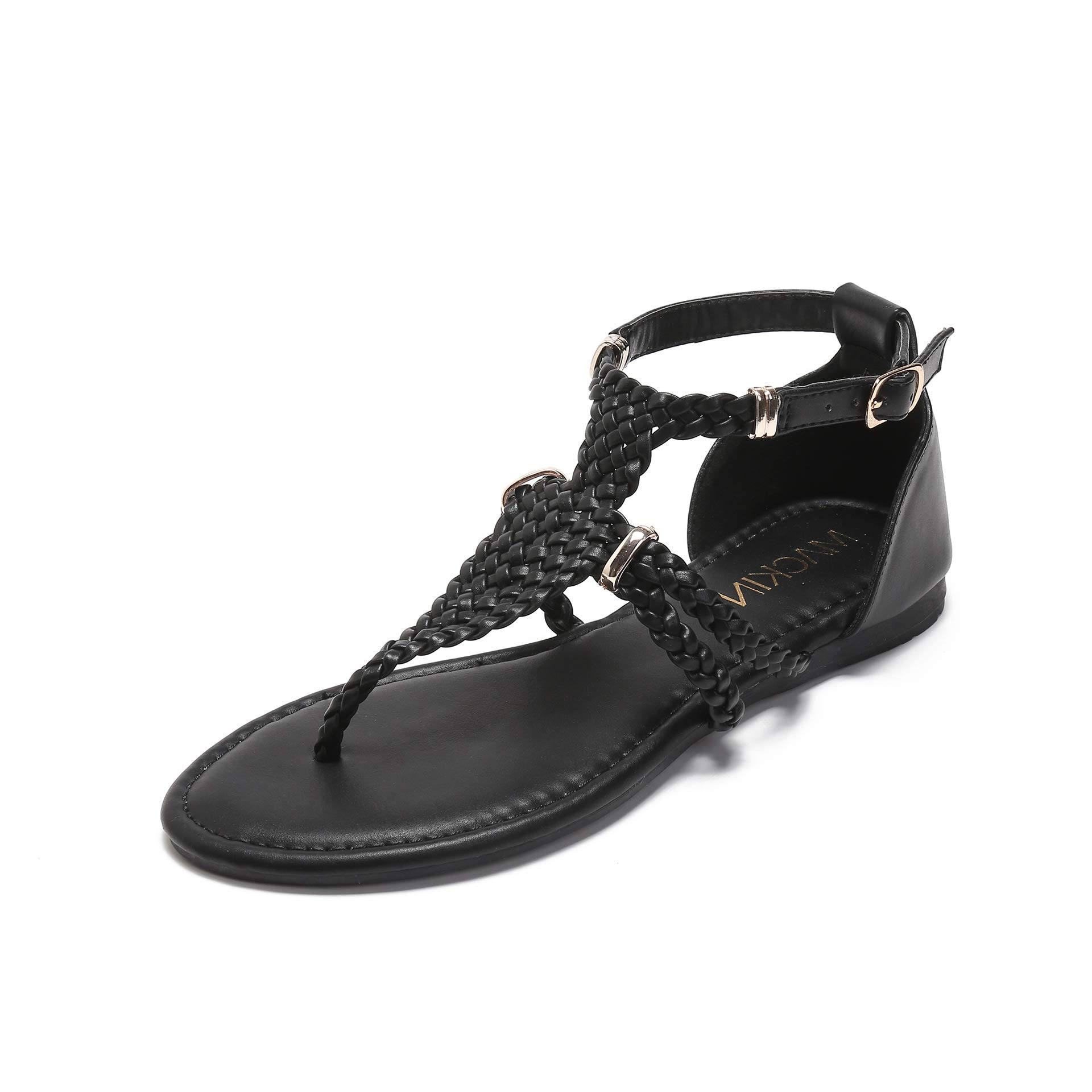 MACKIN J 391-1 Women's Gladiator Sandals Thong Braided Ankle Strap Flat Sandals