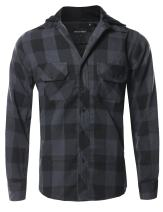 Style by William Men's Flannel Woven Long Sleeves Detachable Hood Button Down Shirt