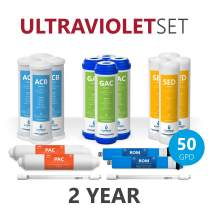 Express Water – 2 Year Ultraviolet Reverse Osmosis System Replacement Filter Set – 18 Filters with UV and 50 GPD RO Membrane – 10 inch Size Water Filters (50 GPD)
