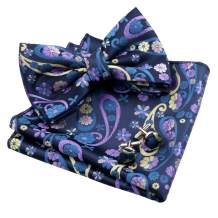 Alizeal Mens Floral Woven Pre-tied Bow Tie, Hanky and Cufflinks Set