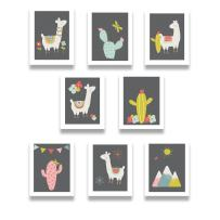 "Llama Family Print Collection - Baby Nursery or Child Room Wall Decor Prints - Set of Eight Mini 5x7"" Professional Artwork - Educational & Beautiful Pictures for Nursery, Bedroom or Classroom"