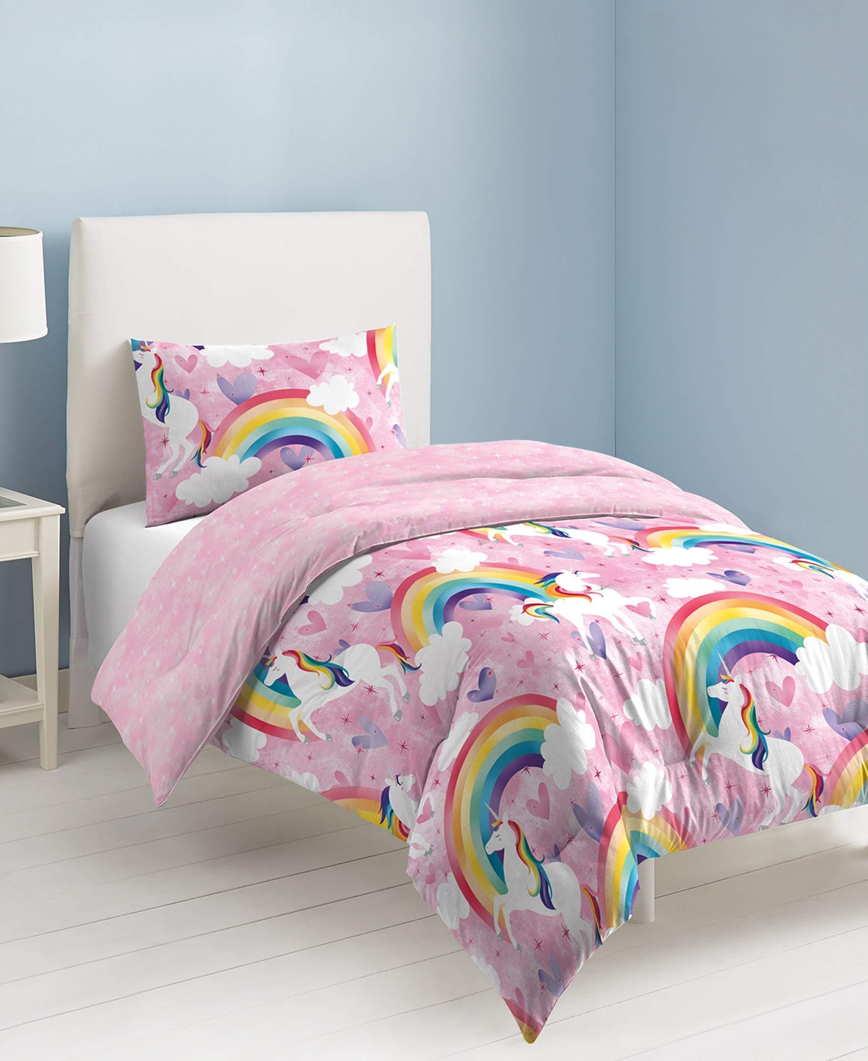 Dream Factory Unicorn Rainbow Comforter Set, Full/Queen, Pink