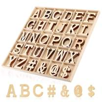 Joy-Leo 2 Inch Big Wooden Craft Alphabet Letters and Symbols with Storage Box (120pcs/Capital A to Z and 4 Symbols, Letters Wood Cutouts for Crafts & Gift Wall Décor & Education Learning and Spelling