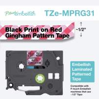 Brother P-Touch Embellish Print Pattern Tape, Black on Red Gingham