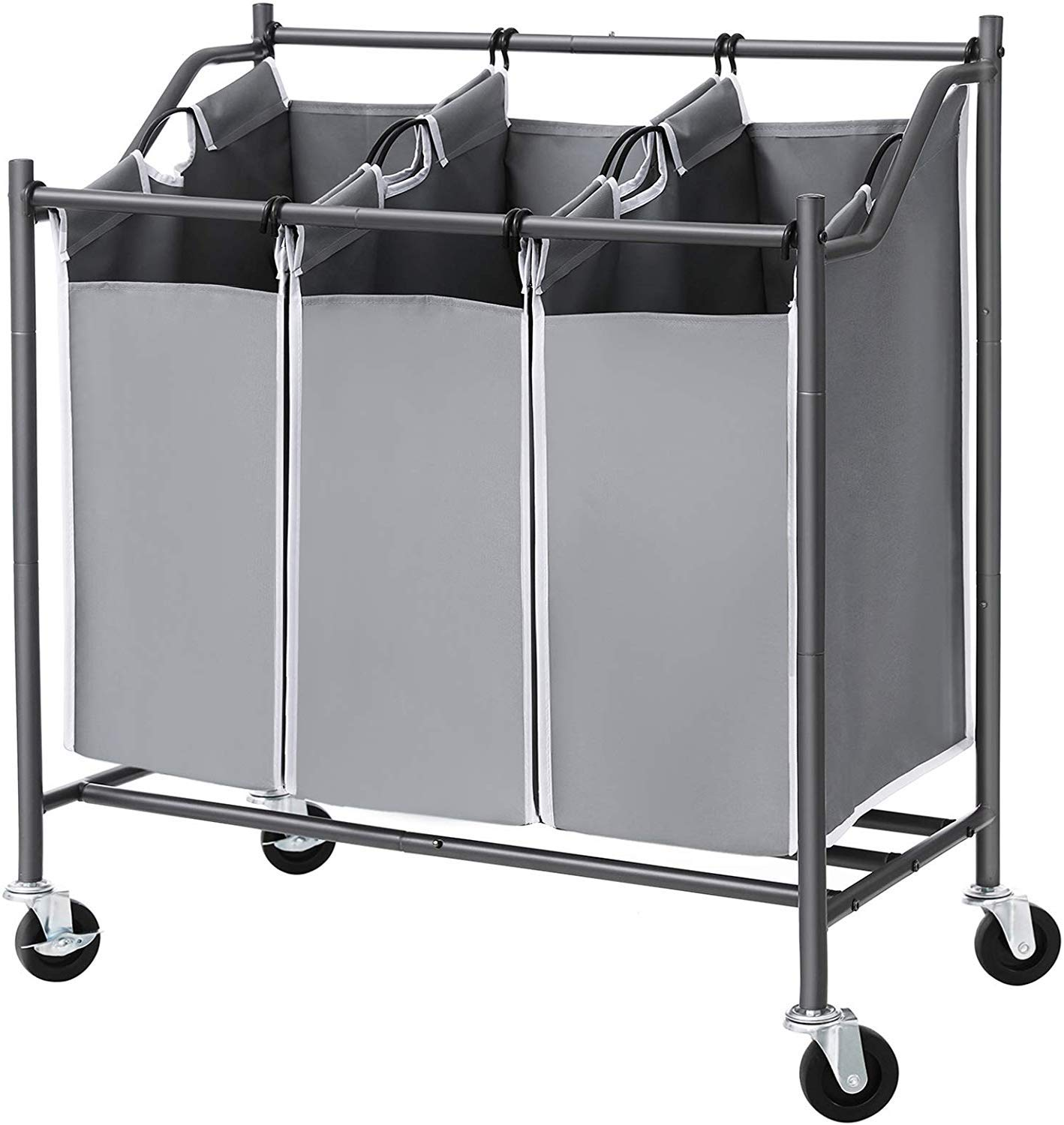 Songmics 3 Bag Laundry Cart Sorter Rolling Laundry Basket Hamper With Casters And Brakes Gray Urls70gs