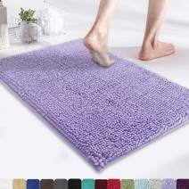 "MAYSHINE Chenille Bath Mat for Bathroom Rugs 24"" x17"", Extra Soft and Absorbent Microfiber Shag Rug, Machine Wash Dry- Perfect Plush Carpet Mats for Tub, Shower, and Room- Lavender"