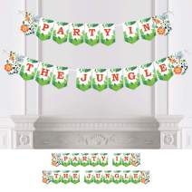 Big Dot of Happiness Jungle Party Animals - Safari Zoo Animal Birthday Party or Baby Shower Bunting Banner - Party Decorations - Party in The Jungle