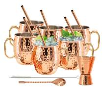 Kitchen Science Stainless Steel Lined Moscow Mule Copper Mugs 18 Ounce Gift Set of 6 Mugs Plus Bonus! Get a gift set of 1 copper jigger, 6 copper straws, 1 copper stirring spoon, and 1 straw brush!