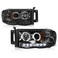 [For 2002-2005 Dodge RAM 1500 2500 3500] LED Halo Ring Chrome Smoke Projector Headlight Headlamp Assembly, Driver & Passenger Side