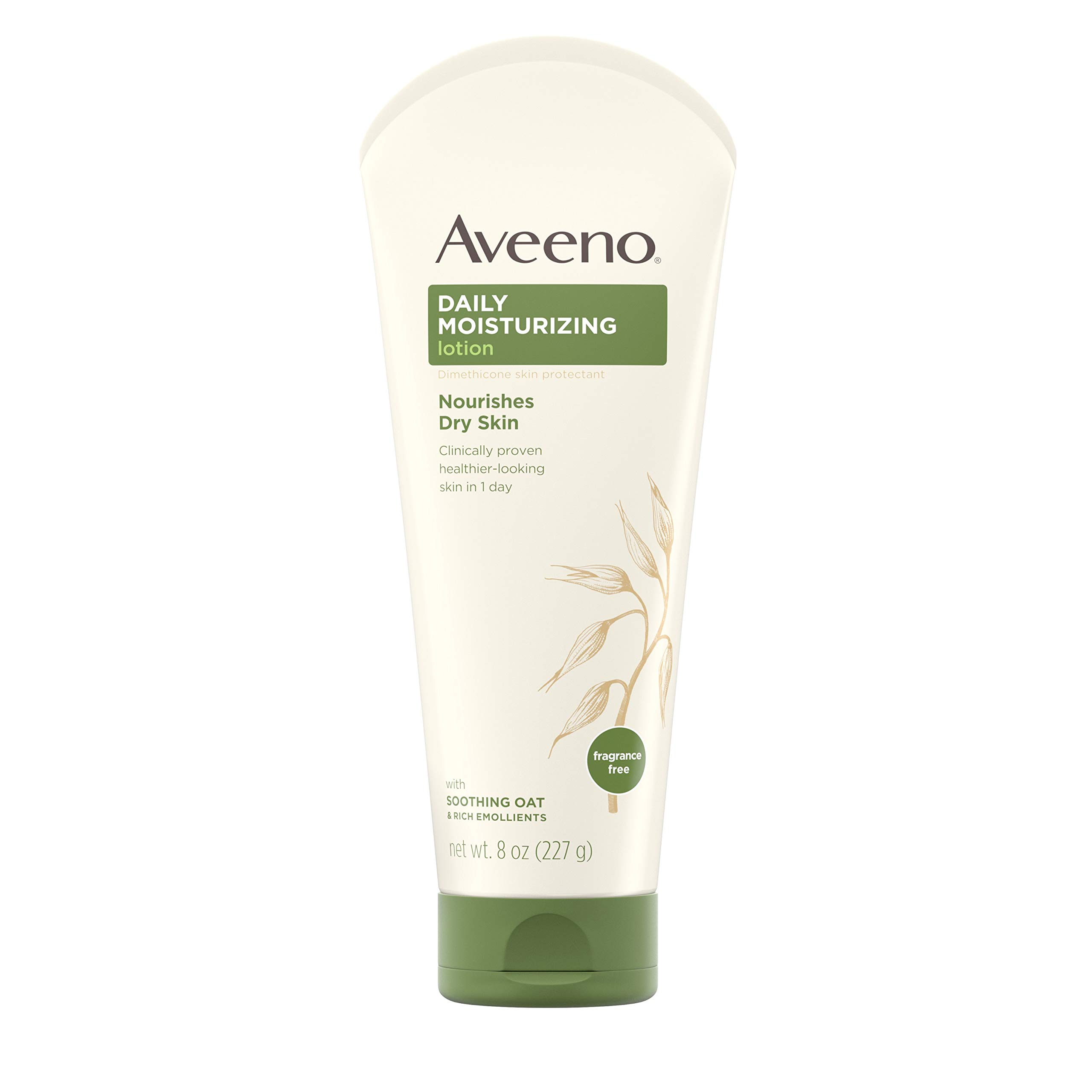 Aveeno Daily Moisturizing Body Lotion with Soothing Oat and Rich Emollients to Nourish Dry Skin, Fragrance-Free, 8 fl. oz