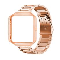 Oitom Metal Bands Compatible with Fitbit Blaze Large,Frame Housing+Stainless Steel Bracelet Replacement Accessory Strap Watch Band for Smart Fitness Watch (Rose Gold Steel+Frame)