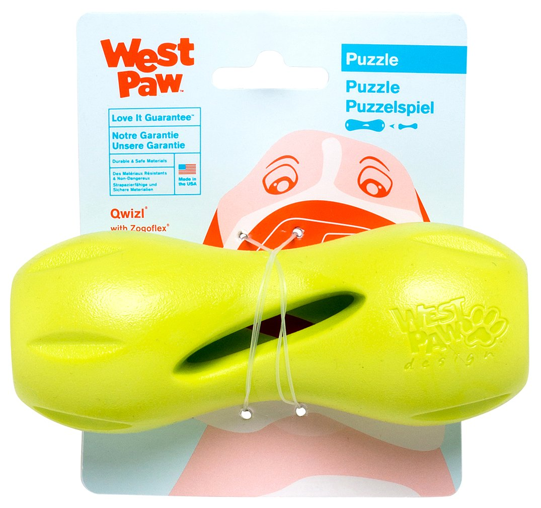 West Paw Zogoflex Qwizl Dog Puzzle Treat Toy – Interactive Chew Toy for Dogs – Dispenses Pet Treats – Brightly-Colored Dog Puzzles for Aggressive Chewers, Fetch, Catch, Non-Toxic, Made in USA