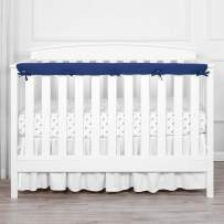 """TILLYOU 1-Pack Padded Baby Crib Rail Cover Protector Safe Teething Guard Wrap for Long Front Crib Rails(Measuring Up to 8"""" Around), 100% Silky Soft Microfiber Polyester, Reversible, Navy/Pale Gray"""