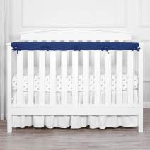 "TILLYOU 1-Pack Padded Baby Crib Rail Cover Protector Safe Teething Guard Wrap for Long Front Crib Rails(Measuring Up to 8"" Around), 100% Silky Soft Microfiber Polyester, Reversible, Navy/Pale Gray"
