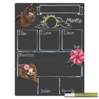 Cohas Monthly Milestone Board for Baby with Sloth Theme and Reusable Chalkboard Style Surface, 12 by 16 Inches, White Marker