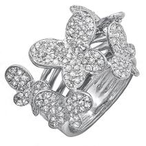 Dazzlingrock Collection 1.35 Carat (ctw) 18k Round Diamond Ladies Butterfly Cocktail Right Hand Ring, White Gold
