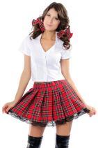Honeystore Women's School Uniform Costume, 3-Piece Set