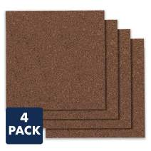 "Quartet Cork Board Bulletin Board Tiles, 12"" x 12"", Corkboard, Mini Wall Bulletin Boards, Decorative Pin Boards for Home Office Decor, Home School Message Board, Modular, Dark Brown, 4 Pack (15050Q)"