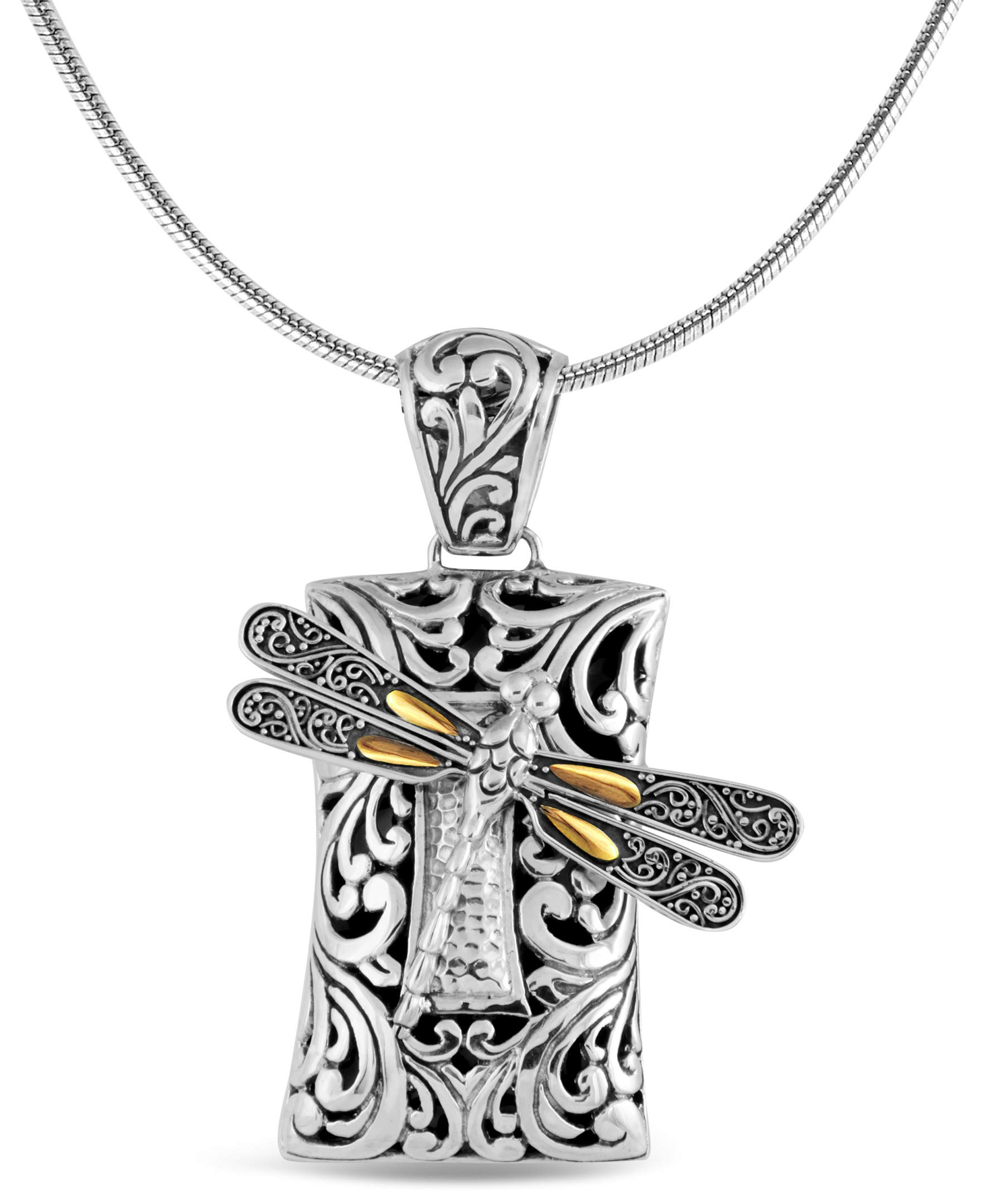 DEVATA Sweet Dragonfly Hammered Sterling Silver 925 Necklace with 18K Gold Accents SFS8563TT