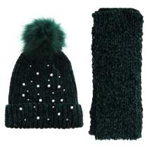 Soft Cozy Winter Scarf and Beanie Pom Pom Pair Set Embellished with Faux White Pearls Tiny Beads