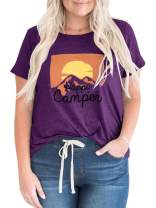 Womens Plus Size Short Sleeve T Shirts Summer Happy Camper Cute Graphic Loose Tee Tops