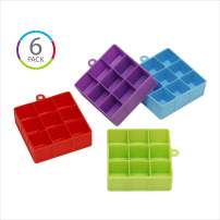 (6 COUNT) KOLORAE SILICONE ICE CUBE TRAYS (9 CUBE)-EASY RELEASE ICE TRAY WITH GREAT FLEXIBILITY AND A MULTI-FUNCTIONALITY PURPOSE-1 OF EACH COLOR PICTURED, PLUS AN ADDITIONAL BLUE AND GREEN TRAY!