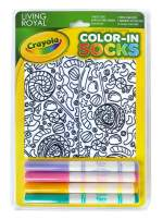 Living Royal Kid's Crayola Color-in Socks - Includes 1 Pair of Socks and 4 Fabric Markers (Candy Lane)