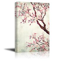 wall26 Canvas Wall Art - Watercolor Painting Style Cherry Blossom - Giclee Print Gallery Wrap Modern Home Decor Ready to Hang - 16x24 inches