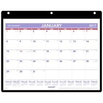 "AT-A-GLANCE Desk / Wall Calendar 2017, Monthly, Clear Cover, 11 x 8-1/8"", 3 Hole Punched (SK8-00)"