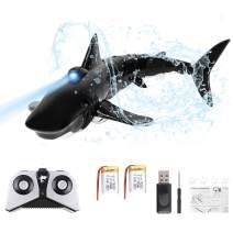 RC Boat Remote Control RC Shark Boat 2.4GHz Racing Boat Simulation Shark Toy for Kids Gift Swimming Pool Bathroom Toy (Black)