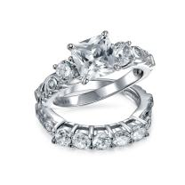 3CT CZ AAA Square Princess Cut Filigree Wave Band Engagement Anniversary Ring Set for Women Gold Plated Sterling Silver