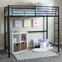 Walker Edison Orion Urban Industrial Metal Twin over Loft Bunk Bed, Twin Size, Black