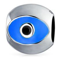 Blue Silver Evil Eye Spiritual Lucky Spacer Bead Sterling Silver Core Fits European Charm Bracelet For Women For Teen