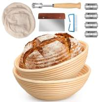 10 Inch and 9 Inch Banneton Bread Proofing Basket Set with Dough Bowl, Stainless Steel Scraper, Bread Lame, Liner and Cleaning Brush - Bread Tools Dough Gifts for Professional, Home Bread Bakers