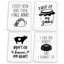 Miracu Funny Kitchen Towels and Dishcloths Sets of 4 - Christmas, Housewarming Gifts New Home - Cotton Dish Towels for Drying Dishes - Cute Decorative Hand Towels, Tea Towels, Flour Sack Towels, White