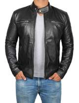 Decrum Leather Motorcycle Jacket Men - Black and Brown Biker Lambskin Moto Jacket