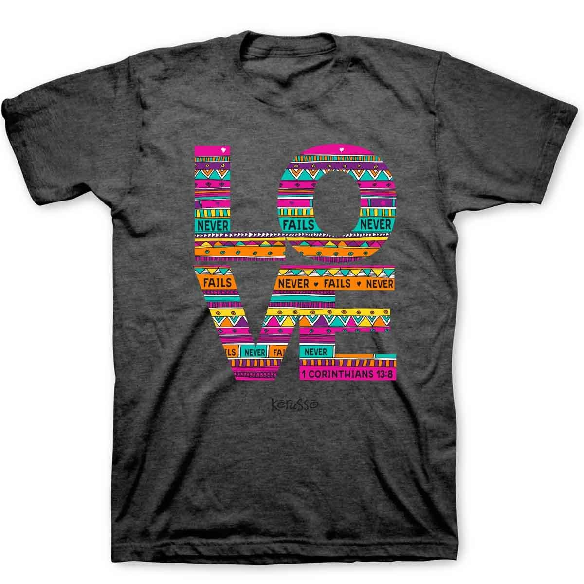 Kerusso Women's Love Doodle T-Shirt - Dark Grey -