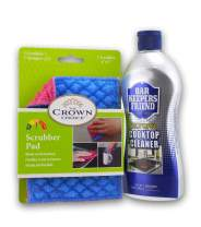 Best Cooktop Cleaner Pad and Cleaner Set - Non-scratch kit has cook top scrubbing pads and Bar Keepers Friend Cooktops Cleaner - Clean burned ceramic, glass, stainless without scratching