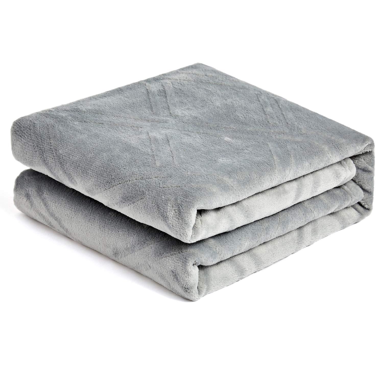 "HT&PJ Super Soft Lightweight Flannel Fleece Throw Blanket Microfiber Velvet Cozy Warm Throw Blanket for Living Room (Light Grey, (Twin 60"" X 80""))"