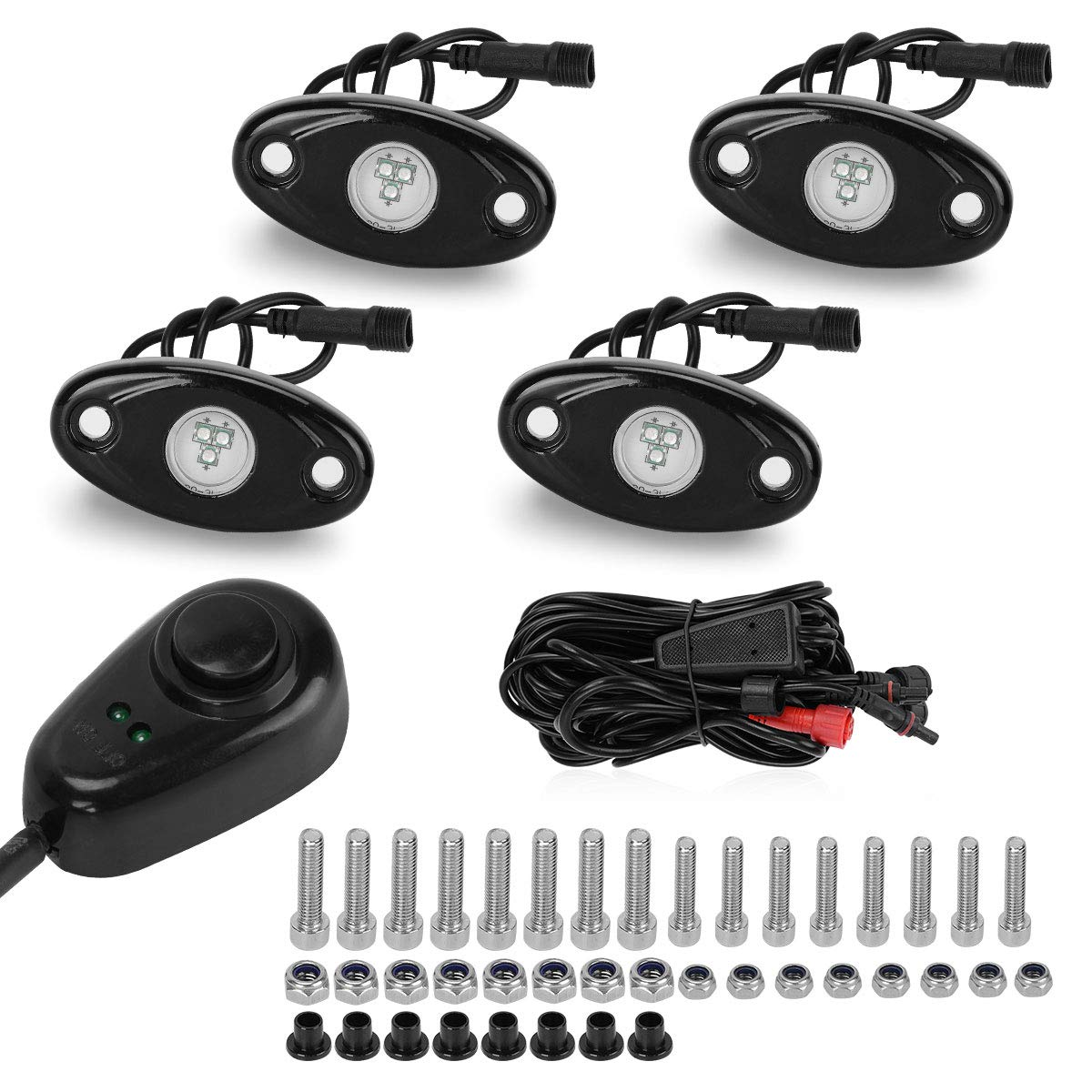 LED Rock Lights Kit for Jeep Truck Wheel Lights with Dimmer Switch, YITAMOTOR 4 Pods Single Color LED Neon Underglow Lights for Car ATV UTV Kayak Polaris RZR Offroad Boat (Green)