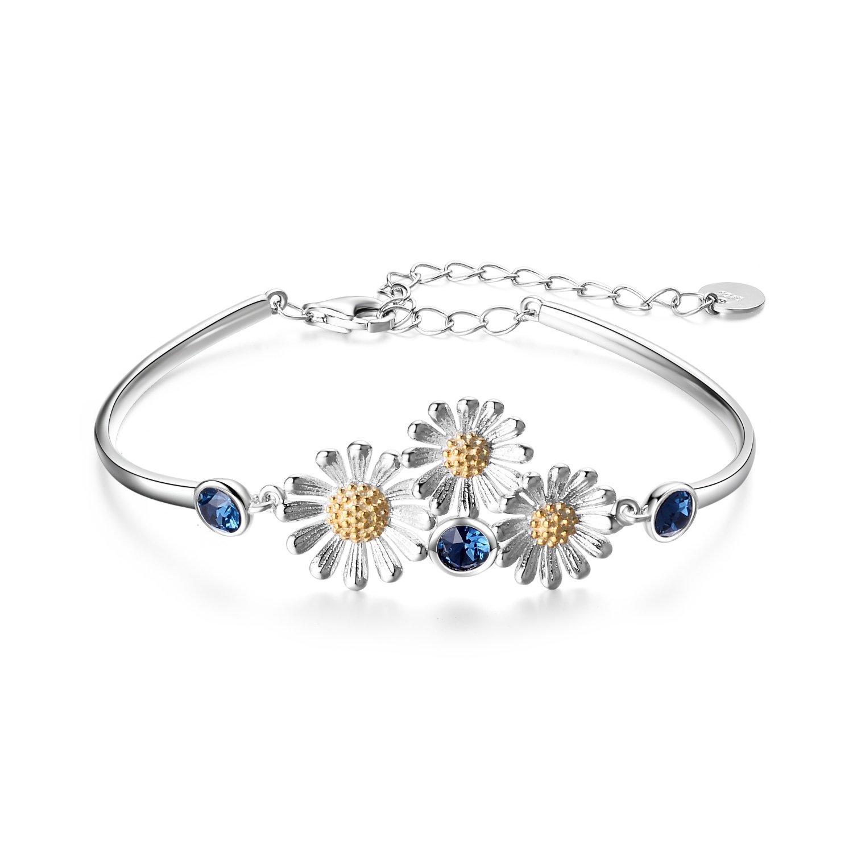 YAFEINI Daisy Sunflower Bracelet 925 Sterling Silver Daisy Sunflower Bangle Bracelets Women Flower Jewelry Gifts