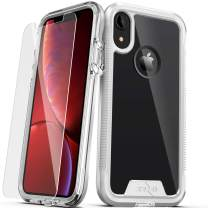 ZIZO ION Series for iPhone XR Case Military Grade Drop Tested with Tempered Glass Screen Protector Silver Clear