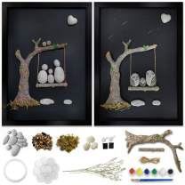 Framed Rock Art Painting Kit, Craft Kits for Adults Women And Kids, 3D Rock Wall Art Decor 17.7 * 12.9 Inches Handmad, Bingo Castle