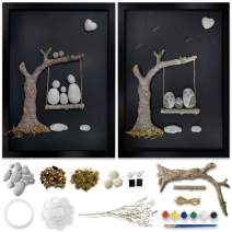 Bingo Castle Wall Art for Living Room - DIY Framed Rock Painting Kit, 3D Canvas Wall Art Decor 17.7 x 12.9 Inches