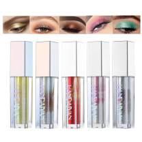 5 Colors Liquid Eyeshadow Glitter Liquid Set Marble Shimmer Liquid Eye Shadow Long Lasting Waterproof Liquid Eyeliner Set Metallic Makeup Set (A)